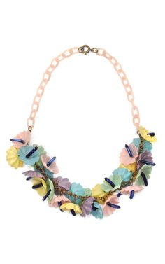 Celluloid Flower Cluster Necklace by Carole Tanenbaum on Moda Operandi
