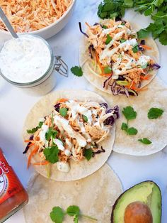 Healthy Buffalo Chicken Tacos (With Ranch!) | Hint of Healthy Buffalo Chicken Tacos, Shredded Buffalo Chicken, Baked Chicken Tacos, Shredded Chicken Recipes, Healthy Buffalo Chicken, Crockpot Chicken Healthy, Healthy Slow Cooker, Soft Tacos, Healthy Tacos