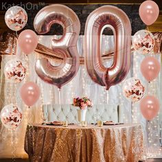 Buy Rose Gold Number 8 Balloon - foil Mylar Rose Gold Balloons Party Decorations Rose Gold Party Supplies for Engagement Birthday Baby Shower Wedding 32 Foot Balloons String - and Find More Baby Shower Party Decorations enjoy up to off. 90th Birthday Decorations, 90th Birthday Parties, Gold Birthday Party, 90 Birthday Party Ideas, Rose Gold Party Decorations, Rose Gold Number Balloons, 16 Balloons, Rose Gold Party Supplies, 30th Birthday Ideas For Women
