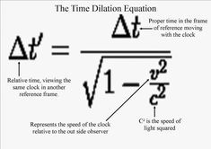 Speed of Light Equation   Even in the Time Dilation Equation everything is linked to light!