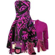 Oscar de la Renta - Fuschia by flowerchild805 on Polyvore featuring Oscar de la Renta, Giuseppe Zanotti, Dasein, Bobbi Brown Cosmetics and Dolce&Gabbana