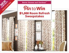 Pin to Win - Room Refresh Sweepstakes. Great ideas for the home.  Thank you.