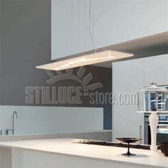 Linealight Next Ma&De lampada a sospensione a LED. Materiale termoplastico verniciato bianco raggrinzante, diffusore in poicarbonato satinato.