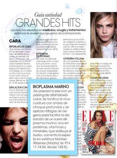 El tratamiento de Bioplasma Marino en la revista ELLE.  Prensa | Instituto de Belleza y Medicina Estética Maribel Yébenes