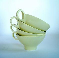Vintage Boontonware Pale Yellow Coffee Tea Cups by AppleCharlotte