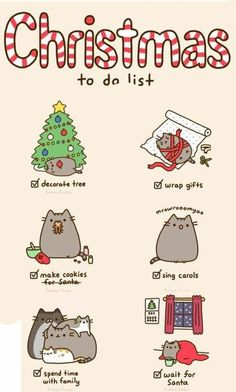 Christmas to do list. Christmas Pusheen cat.