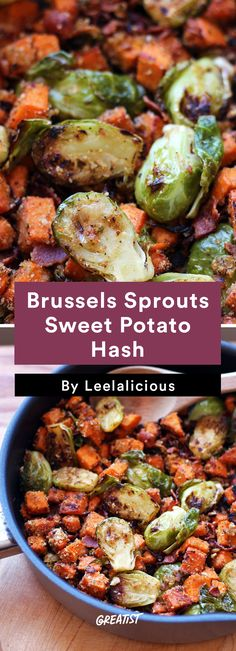 7. Brussels Sprout Sweet Potato Hash #healthy #sweetpotato #hash #recipes http://greatist.com/eat/sweet-potato-hash-recipes-for-breakfast-or-dinner