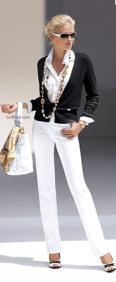 White pants + button-down, black blazer