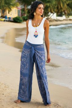 Bali Beach Pants - Front wrap panels with beaded ties give an exotic sarong look to these resort-ready rayon pants in a kerchief-inspired placed print from| Soft Surroundings