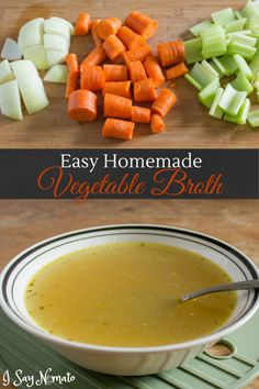 Easy Homemade Vegetable Broth that is delicious, cheaper than store-bought and takes less than an ho Recipe For Vegetable Stock, Vegetable Broth Soup, Recipes With Vegetable Broth, Homemade Vegetable Broth, Homemade Soup, Soup Broth, Ramen Broth, Vegetable Ideas, Soup Recipes