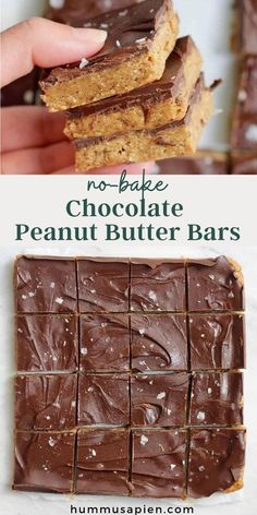 These decadent tasting No Bake Chocolate Peanut Butter Bars make the perfect healthy snack or no bake dessert! Made with only five ingredients. #peanutbutter #nobake #snackrecipes #chocolate #healthydesserts