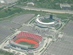 Kansas City ROYALS  &  CHIEFS  STADIUMS - side by side. Truman Sports Complex.