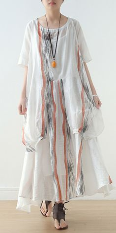 Summer Women White Chiffon Print O Neck Dress Summer Dress Outfits, Casual Summer Dresses, Summer Dresses For Women, Summer Maxi, Dresses Short, Loose Dresses, White Linen Dresses, Half Sleeve Dresses, White Chiffon