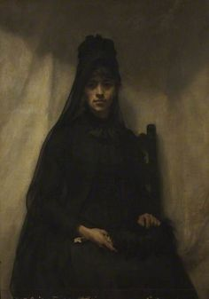 Portrait of Anna Bilinska (1857–1893), 1884 by by Emmeline Deane (British 1858–1944)....The sitter in this dramatic portrait is Polish artist Anna Bilinska-Bohdanowicz. Artist and sitter probably met in Paris in 1884, where Bilinska was studying on an art course for women. In this portrait, Anna is shown wearing typical mourning dress, with what may be a black feather fan resting on her lap. In 1884, Anna's father had died leaving her impoverished. A year later her fiancé too died. In deep…