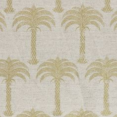 Marrakech Palm Fabric  A stunning tropical fabric with a small scale palm tree design shown in gold on a natural ground.