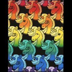 """""""FUN"""" RAINBOW UNICORNS. Sold By The FAT QUARTER. A Quarter Yard. On BLACK Background Fabric. RARE, Very Hard To Find. Multiple Units Will Be. Whenever Possible. As One Continuous Length. Horse Fabric, Sewing Material, New Theme, Mug Rugs, Line Patterns, Rainbow Unicorn, Unicorns, Black Backgrounds, Stamping"""