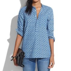 Madewell Chambray Floralstamp Popover Soft chambray in our signature slip-it-on style. All in a one-of-a-kind geometric floral inspired by a vintage batik print. 100% Cotton. Sizs Small.   No Trades. Please make all offers through offer button. Madewell Tops
