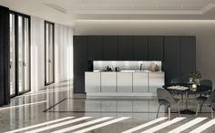 Zicht op de exclusieve SieMatic Pure SE keuken met oppervlakken van roestvrij staal en grafietgrijze matte lak.