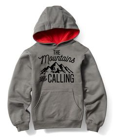 Charcoal & Red 'The Mountains Are Calling' Pullover Hoodie - Kids