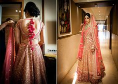 A coral lehenga covered in gold sequence with a red border and a coral dupatta by Sabyasachi for Bride Ria Shah of WeddingSutra. Photos Courtesy- Photosynthesis by Aditi #WeddingSutraP2W