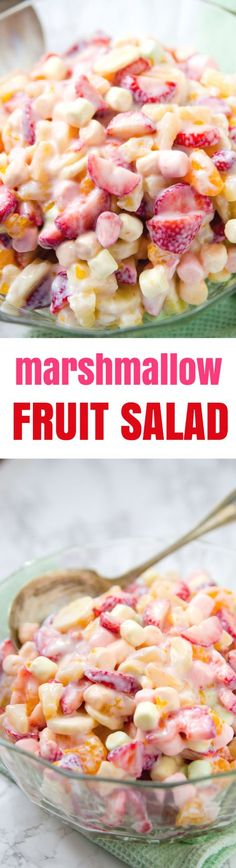 Easy Marshmallow Fruit Salad Recipe I had this delicious fruit salad a lot growing up. A typical 5 Cup Fruit Salad is very similar, but this fruit salad utilizes fresh strawberries and bananas and omits the coconut. Totally delicious and comforting. I am using my best guess on amounts for this recipe. Please use your best judgment and increase or decrease the fruit amounts listed to suit your tastes.