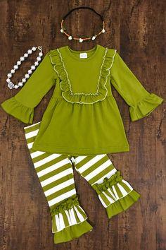 Olive Green Stripe Ruffle Pant Set