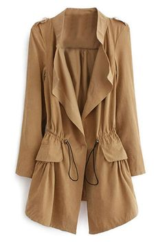 Lapel Selt-tied Elastic Khaki Trench Coat
