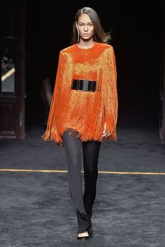 Olivier Rousteing does '80s like no other. This fringed, orange minidress is perfection.
