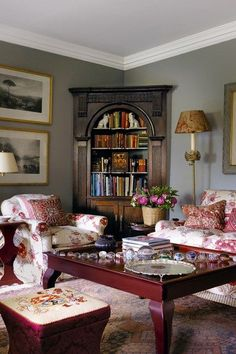 One of the sofas in its Drawing Room setting. The blue damask is ...