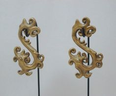 Earrings - Borneo - Earrings Dayak Brass Fire Dragon. by BorneoHunters Etsy