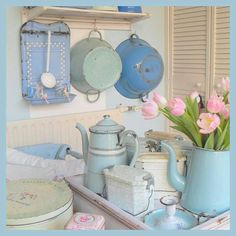 sweet display of different shades of blue kitchen enamel