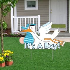 """""""It's a Boy"""" Die Cut Stork, Baby Announcement Yard Sign (Light Skin Toned Baby)"""