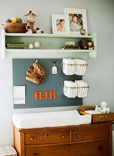 BOY OH BOY! Maybe one of my precious DIL's will think this would be for their baby boys room!!! Keep your nursery organized with unexpected items.