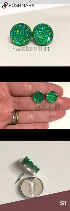 💕3 for $15-Seaweed Druzy Stud Earrings In Green (1) pair- 12mm Seaweed Green Druzy Stud Earrings In Green Setting   All of our settings are lead / nickel free and have rubber backs.  BUNDLE 3 PAIRS FOR $15! Bundle your favorite 3 pairs, send me and offer for $15, & I'll accept!!  👆🏻PRICE IS FIRM FOR 1 PAIR UNLESS BUNDLED👆🏻               Each additional pair is $5.   Custom requests are always welcome!   All of our earrings come packaged in a giftbox. Jewelry Earrings