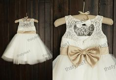 Lace Tulle Flower Girl Dress Keyhole Back Champagne by thstylee1, $52.99