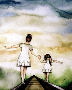 "Mother and Daughter ""Our Path"" ~ Claudia Tremblay ~ Mother And Daughter Drawing, Mother Daughter Quotes, Mom Daughter, Mother And Child, Daughters, Tattoo Painting, Claudia Tremblay, Arte Fashion, Mothers Love"