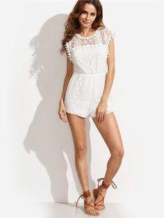 1ed5449462fdc Macacão Curto de Renda Branco - Compre Online