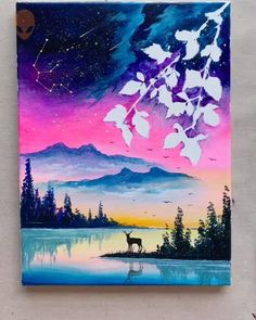 15 Amazing Deer Paintings Ideas For Home Decor Painting Tutorial Videos Basic Painting, Simple Acrylic Paintings, Galaxy Painting, Beginner Painting, Painting Videos, Watercolor Paintings, Deer Paintings, Silhouette Painting, Pastel Art