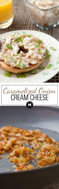 Caramelized Onion Cream Cheese: This recipe takes some time, but it's completely easy and pretty hands off. The result is a decadent and rich cream cheese spread that's good on any number of things, but mostly BAGELS. Read the post for my Caramelized Onio Macaroni Cheese Recipes, Cream Cheese Recipes, Onion Bagel, Bagel Dip, Breakfast On The Go, Breakfast Ideas, Cream Cheese Spreads, Tasty Kitchen, Appetizer Recipes