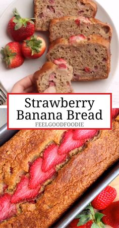 Recipes Snacks Videos This easy Strawberry Banana Bread recipe is made with greek yogurt instead of oil or butter. It's loaded with fresh strawberries and easy to prep and bake! Strawberry Banana Bread, Strawberry Desserts, Easy Strawberry Bread Recipe, Recipes With Fresh Strawberries, Healthy Strawberry Recipes, Greek Yogurt Banana Bread, Strawberry Muffins, Bon Dessert, Dessert Food