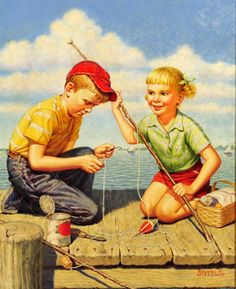 Revere F. Wistehuff (1900 – 1971, American)baiting-the-hook