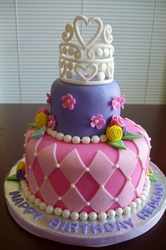 Two-tier strawberry cake covered with buttercream and fondant.  All decorations are fondant and gumpaste.