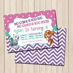 Items similar to Paw Patrol Girl's Birthday Party Invitation - PRINTABLE Skye and Everest Birthday Invite on Etsy Girl Paw Patrol Party, Paw Patrol Birthday Girl, Paw Patrol Invitations, 3rd Birthday Parties, Birthday Party Invitations, 4th Birthday, Birthday Ideas, Invitations Kids, Handmade Invitations