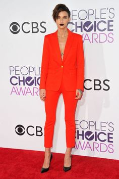 Monochromatic is the statement of the moment, see how Ruby Rose slays red-orange..