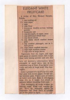 Toledo Blade Recipes - At Kathryn's Table Old Recipes, Vintage Recipes, Cake Recipes, Cooking Recipes, Christmas Cakes, Christmas Goodies, Christmas Treats, Fruitcake Cookies, Fruit Cakes