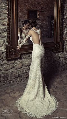julia kontogruni 2017 bridal long sleeves illusion boat neck deep sweetheart neckline full embellishment sexy sophiscated sheath wedding dress racer back sweep train (6) bv