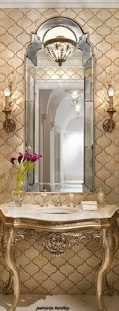 Lovely mirror for the powder room. Beautiful Mirrors, Beautiful Bathrooms, Glamorous Bathroom, Bad Inspiration, Bathroom Inspiration, Classic Bathroom, Elegant Homes, House Design, Decoration