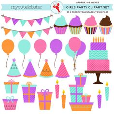 Girl's Birthday Party Clipart Set  por mycutelobsterdesigns en Etsy