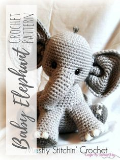 Percy the Baby Elephant Crochet Amigurumi. This would be the perfect gift to crochet for new baby and baby shower. #crochet #amigurumipattern #amigurumitoy #ad