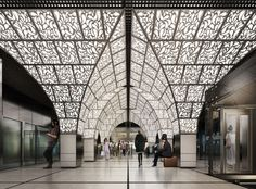 United Riga Architects Chosen to Redesign Moscow's Novoperedelkino Subway Station. Riga, Moscow Metro, Mall Design, Avenue Design, New Architecture, Ceiling Treatments, Destinations, Metro Station, Station 1